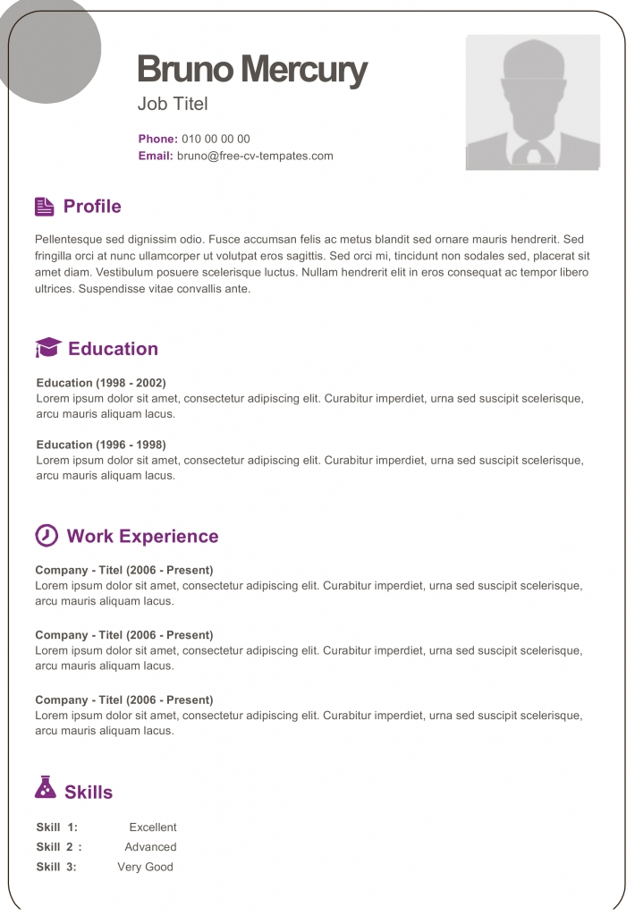 free dynamic cv templates land the job with our word resume bruno 710x1024 good pattern Resume Free Dynamic Resume Templates