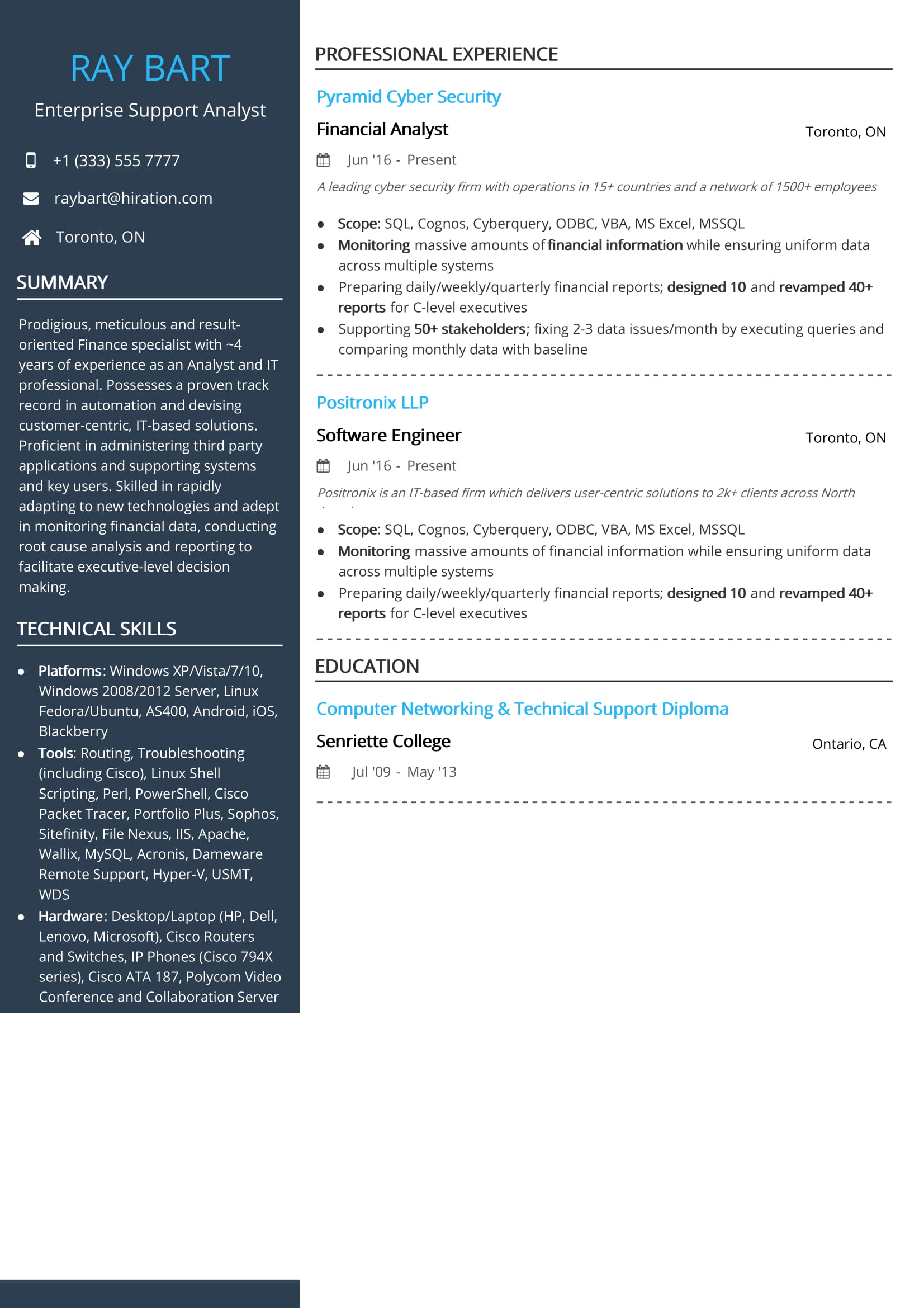 free enterprise support analyst resume sample by hiration specialist toronto volunteer Resume Resume Specialist Toronto