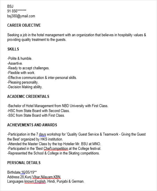 free fresher resume examples in ms word sample for freshers looking the first job hotel Resume Sample Resume For Freshers Looking For The First Job