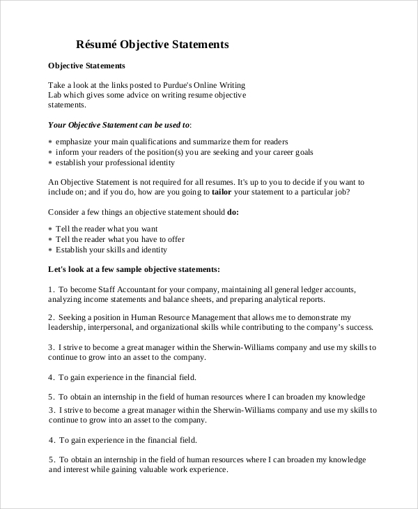 free general resume objective samples in pdf statements statement on for elderly care Resume General Resume Objective Statements