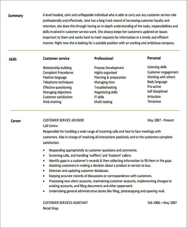free generic resume objectives in ms word pdf professional objective for customer service Resume Professional Resume Objective For Customer Service