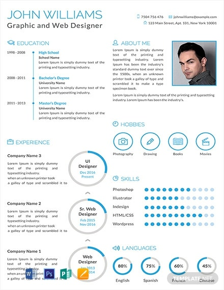 free graphic and web designer resume cv template word apple mac publisher format 440x570 Resume Web Designer Resume Format Free Download
