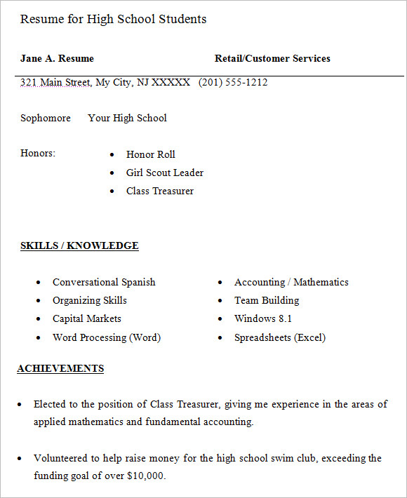 free high school resume templates in pdf word student template for students pre service Resume Student Resume Free Template