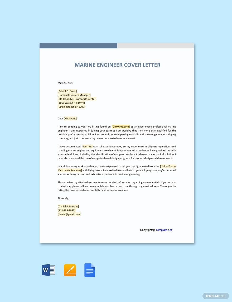 free marine engineering cover letter template word job application resume of experienced Resume Resume Of A Experienced Marine Engineers
