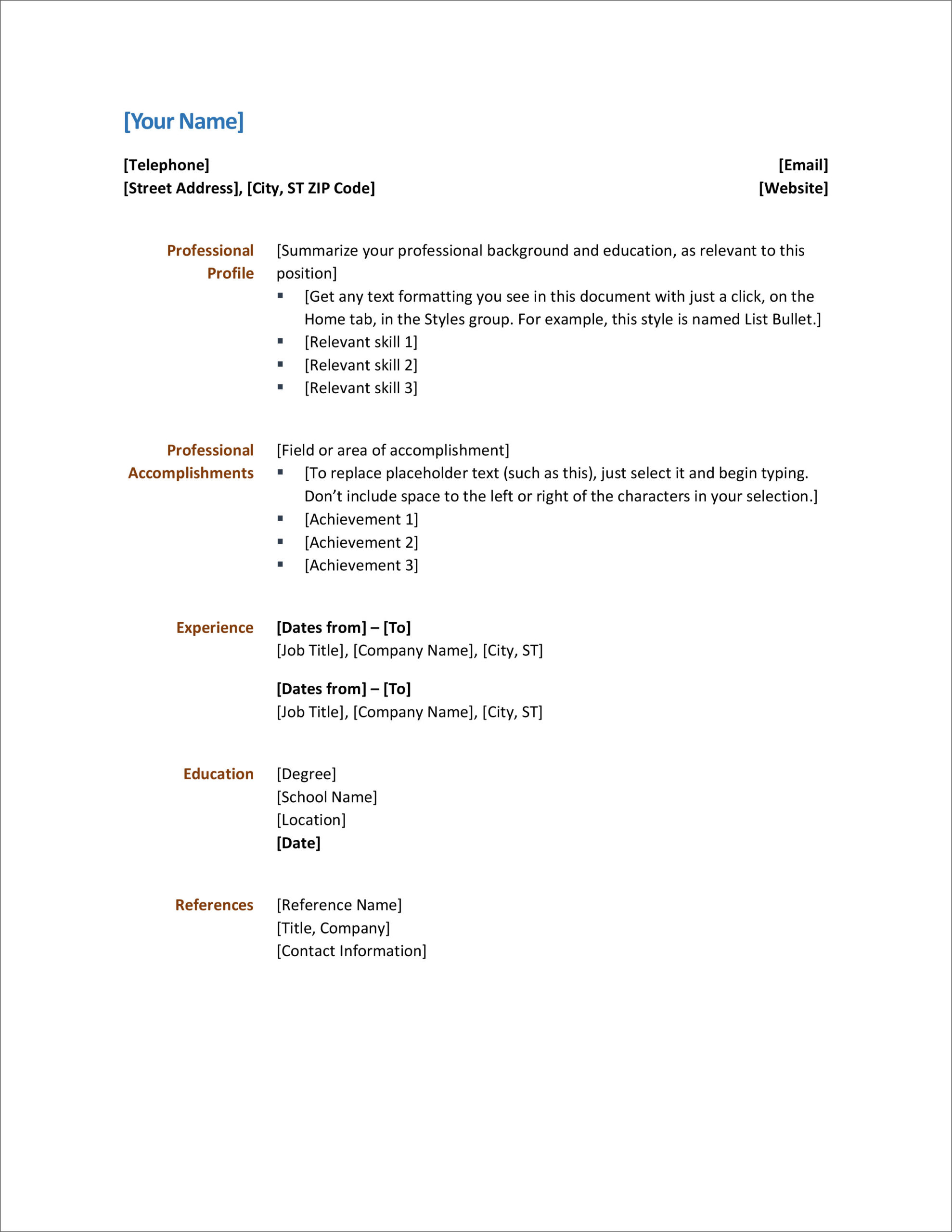 free modern resume cv templates minimalist simple clean design basic examples word Resume Basic Resume Examples Word