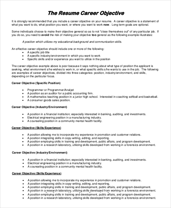 free resume objectives samples in ms word pdf job objective sample career objective1 Resume Job Resume Objective Sample