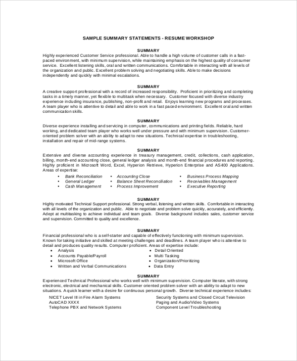 free resume summary samples in pdf ms word general personal for statement example machine Resume General Personal Summary For Resume