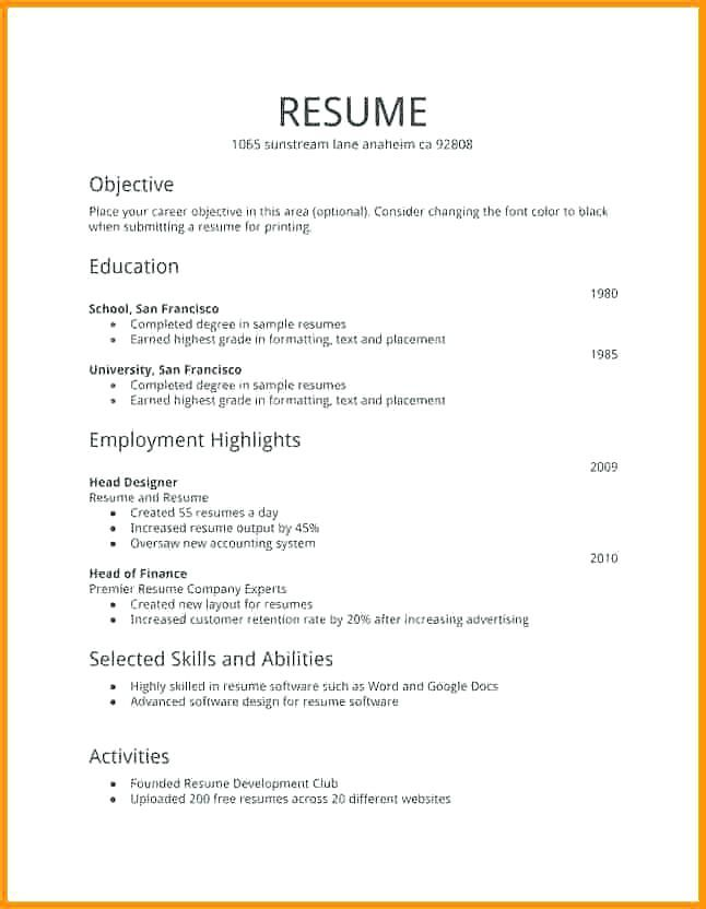 free resume templates first job examples simple layout computer science objective senior Resume First Job Resume Layout