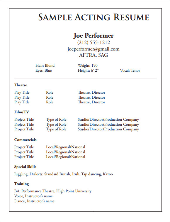 free sample acting cv templates in pdf theatre resume template information security Resume Theatre Resume Template