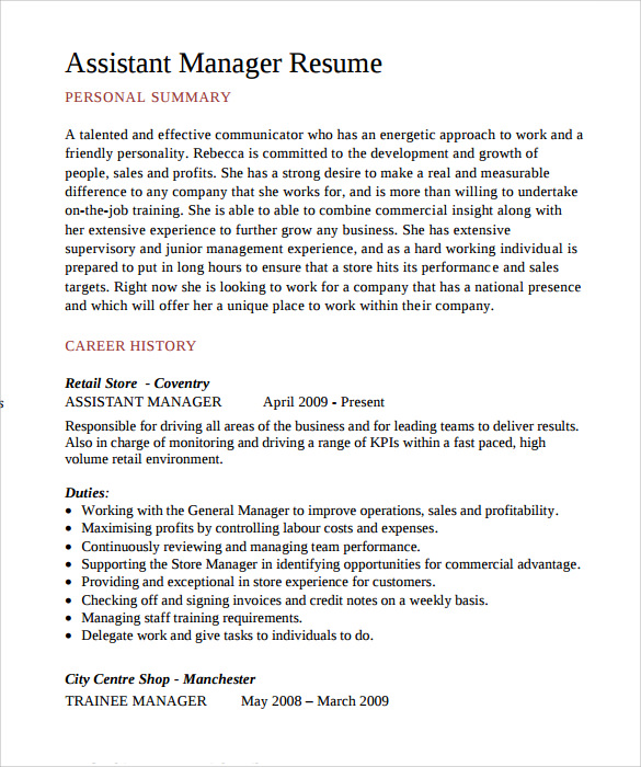 free sample assistant manager resume templates in pdf format for operations bpo web Resume Resume Format For Assistant Manager Operations Bpo