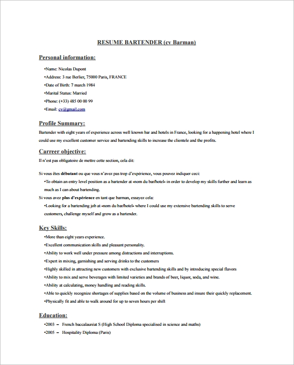 free sample bartender resume templates in pdf ms word template creative mortgage format Resume Bartender Resume Template