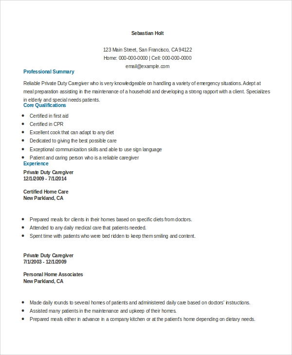 free sample caregiver resume templates in ms word pdf for home private duty resume1 Resume Resume For Home Caregiver