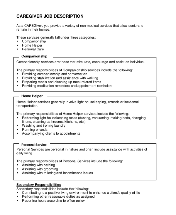 free sample caregiver resume templates in ms word pdf private duty job description for Resume Private Duty Caregiver Resume