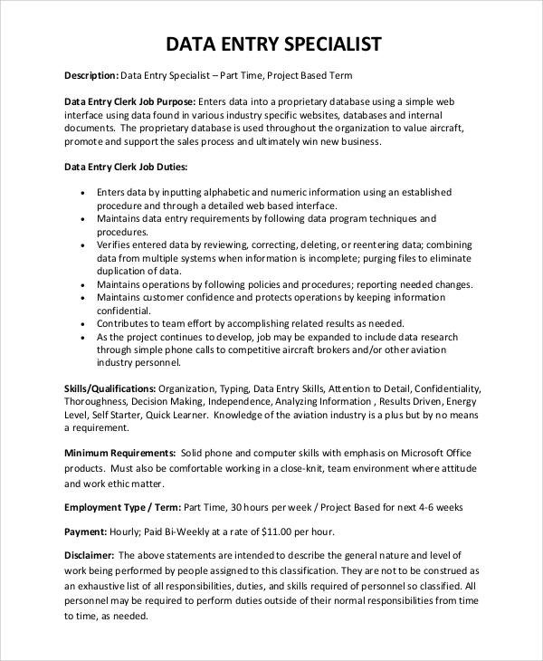free sample data entry resume templates in pdf ms word publisher job description for Resume Data Entry Job Description For Resume