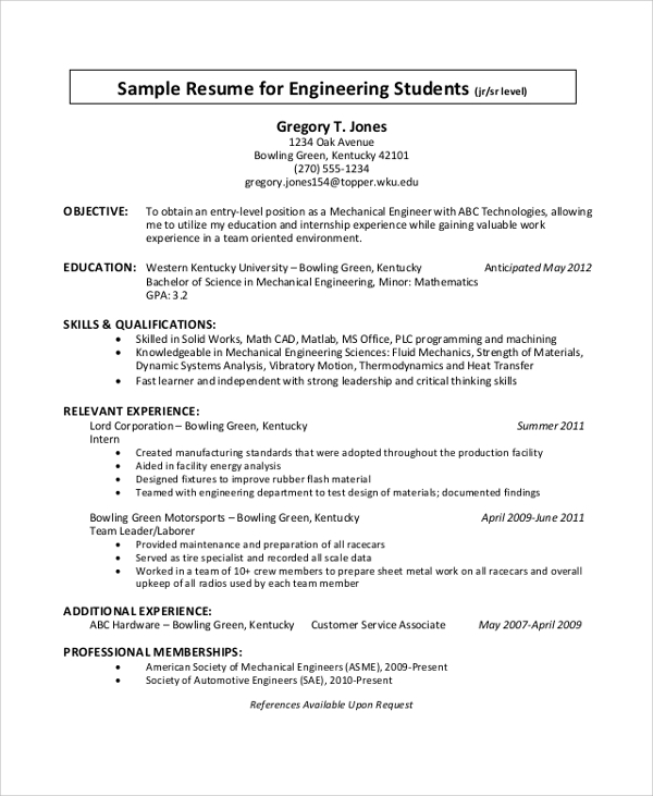 free sample engineering cv templates in pdf ms word student resume operations support Resume Engineering Student Resume