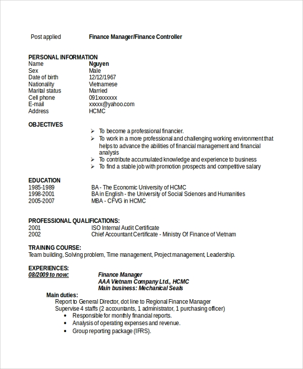 free sample finance resume templates in pdf ms word executive summary manager easy Resume Finance Executive Resume Summary