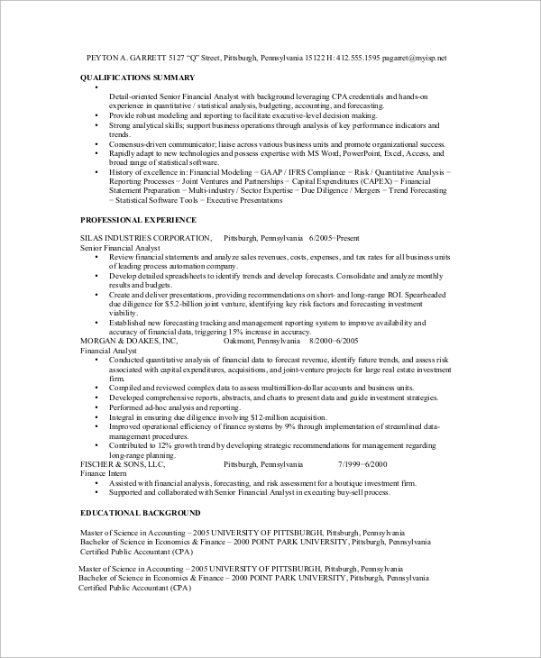 free sample financial analyst resume templates in ms word pdf planning and analysis Resume Financial Planning And Analysis Resume Summary