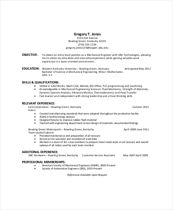 free sample general resume objective templates in pdf ms word maintenance for entry level Resume Maintenance Resume Objective