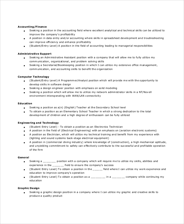 free sample general resume objective templates in pdf ms word statements multiple Resume General Resume Objective Statements
