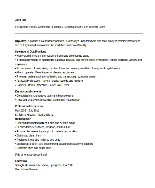 free sample housekeeping resume templates in ms word pdf objective hospital anonymous Resume Housekeeping Resume Objective