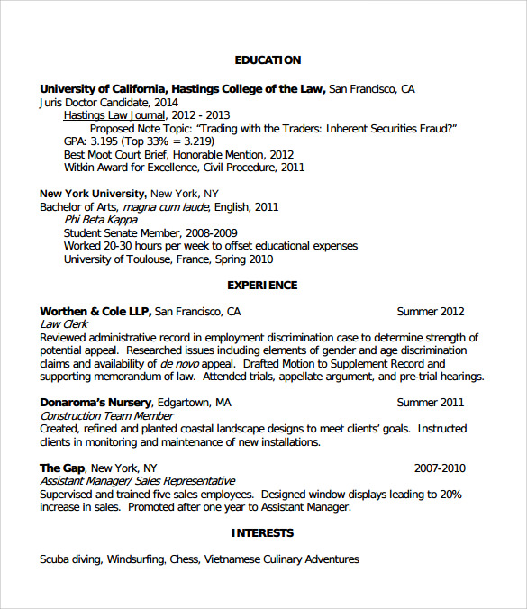 free sample legal resume templates in pdf ms word interests for law example of listing Resume Interests For Law Resume