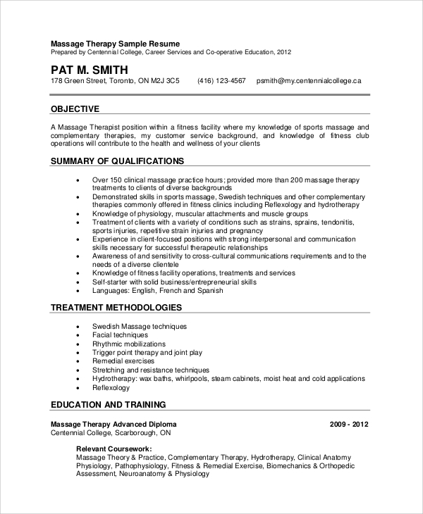 free sample massage therapist resume templates in pdf template entry level microsoft Resume Massage Therapist Resume Template