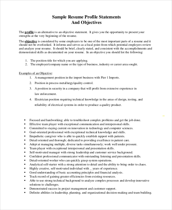 free sample objective statement resume templates in pdf of purpose general supply chain Resume Resume Statement Of Purpose