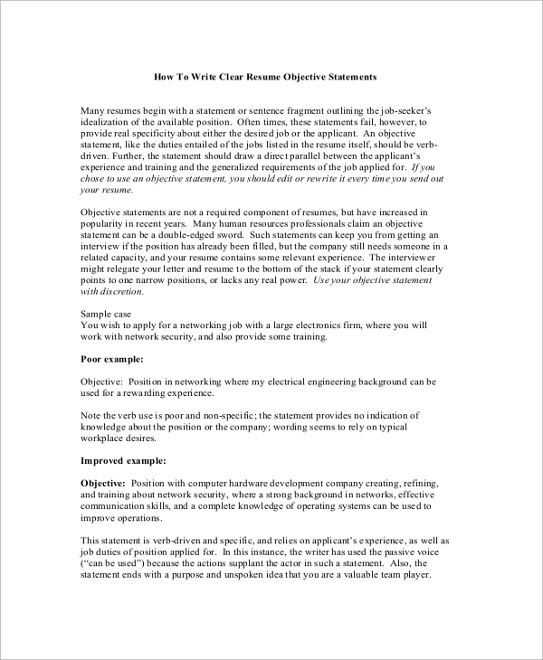 free sample objectives in pdf ms word resume statement of purpose writing an clear Resume Resume Statement Of Purpose