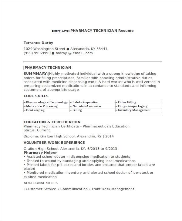 free sample pharmacy technician resume templates in ms word pdf entry level samples Resume Entry Level Pharmacy Technician Resume Samples