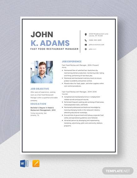 free sample restaurant resume templates in pdf ms word fast food manager template Resume Fast Food Manager Resume