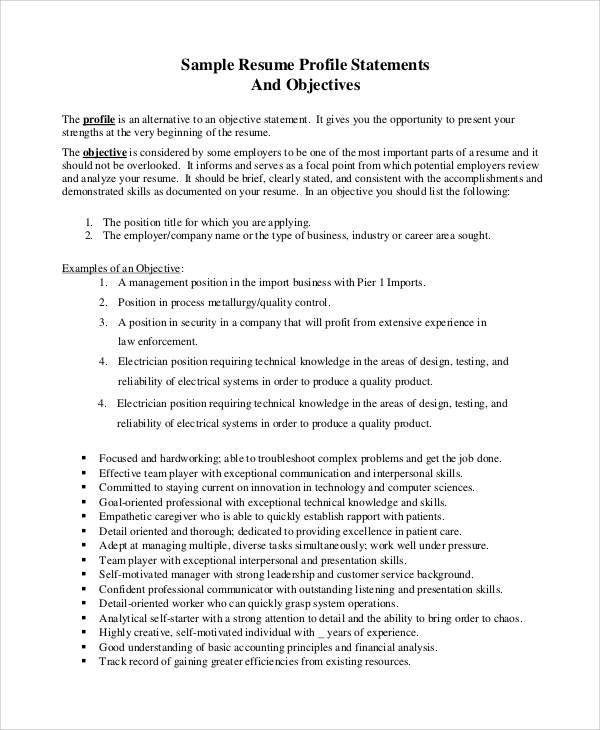 free sample resume objective templates in pdf ms word examples for management statement Resume Resume Objective Examples For Management