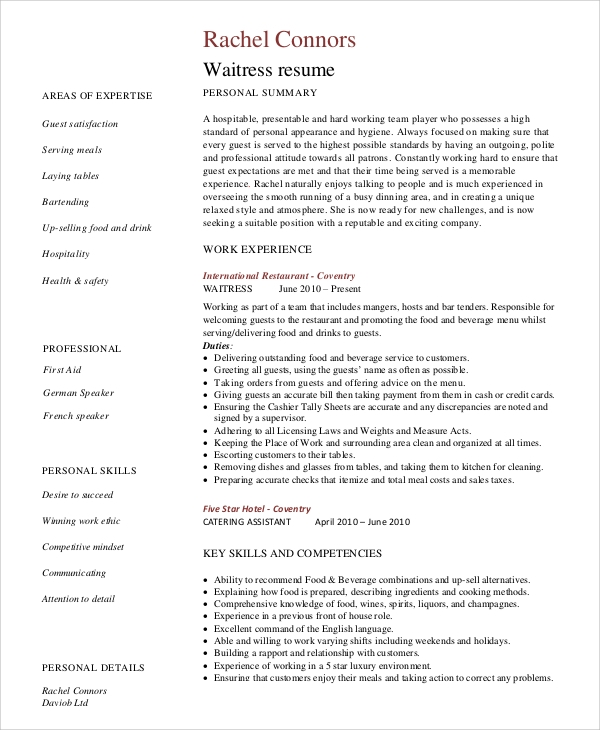 free sample server resume templates in ms word pdf examples restaurant ses ecq example Resume Server Resume Examples 2020
