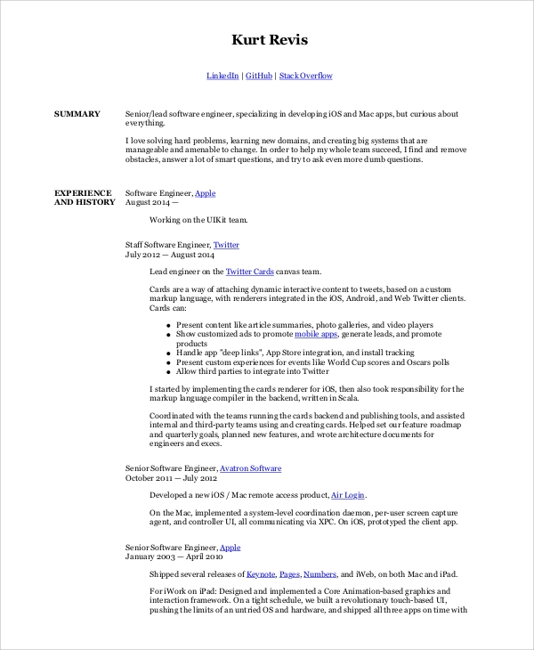 free sample software engineer resume templates in ms word pdf senior developer types of Resume Senior Software Developer Resume