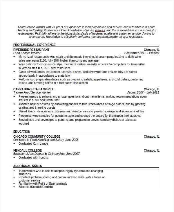 free sample waiter resume templates in pdf ms word cruise ship objective formal writing Resume Cruise Ship Objective Resume