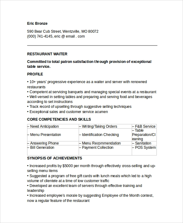 free sample waiter resume templates in pdf ms word server duties and responsibilities for Resume Server Duties And Responsibilities For Resume