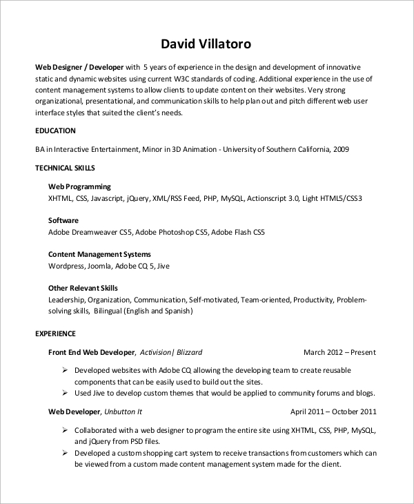free sample web developer resume templates in ms word pdf entry level android stock Resume Entry Level Android Developer Resume