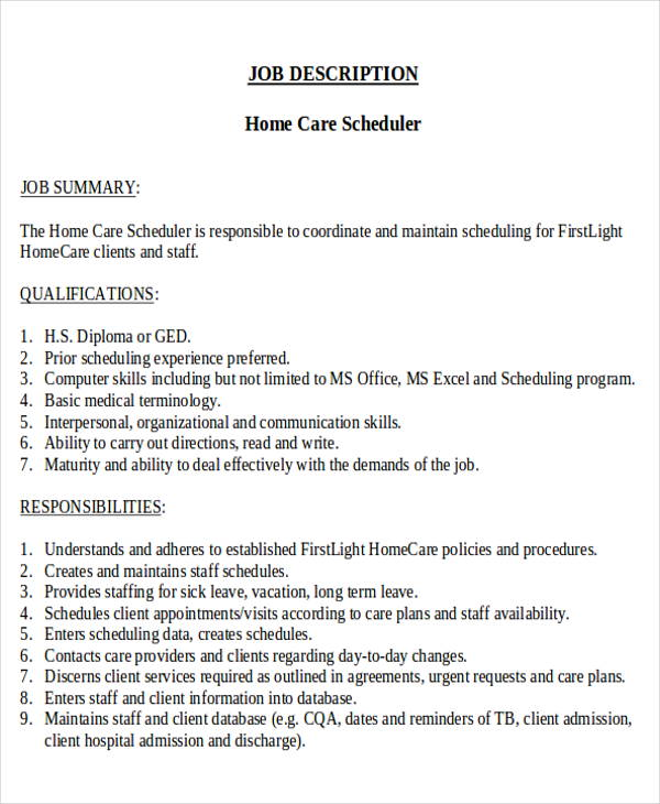 free scheduling coordinator job description samples in ms word pdf resume for home health Resume Resume For Scheduling Coordinator