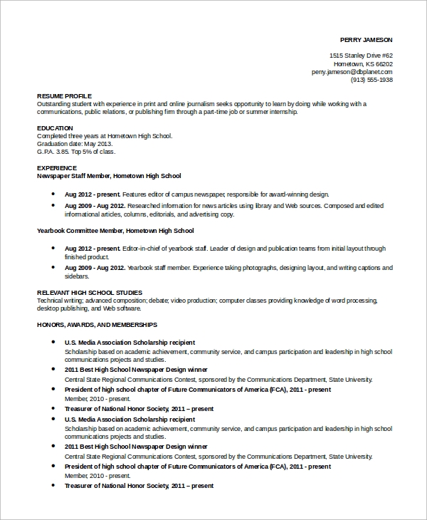 free simple resume examples in ms word pdf honors and awards academic example entry level Resume Honors And Awards Resume