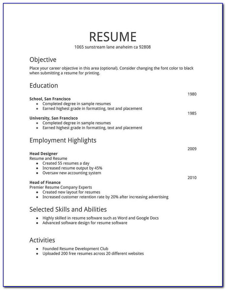 free simple resume examples vincegray2014 basic samples recommendation letter template Resume Basic Resume Samples Free