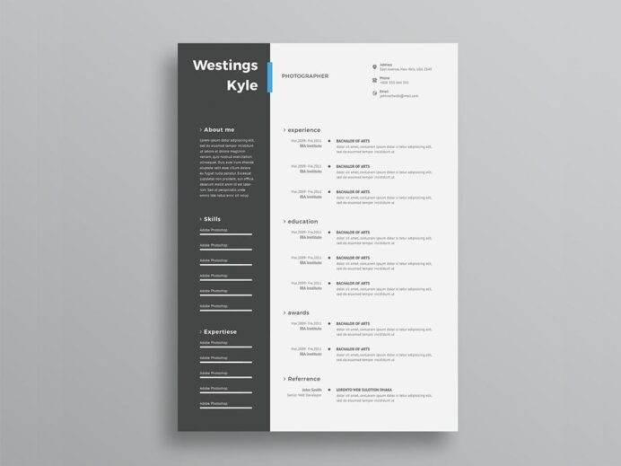 free ultra minimal two column photo resume cv template with cover lett creativebooster Resume Minimalist Resume Sample