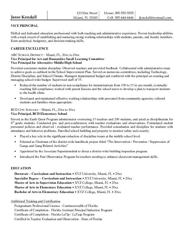 free vice principal resume example student template assistant examples objective for best Resume Objective For Assistant Principal Resume