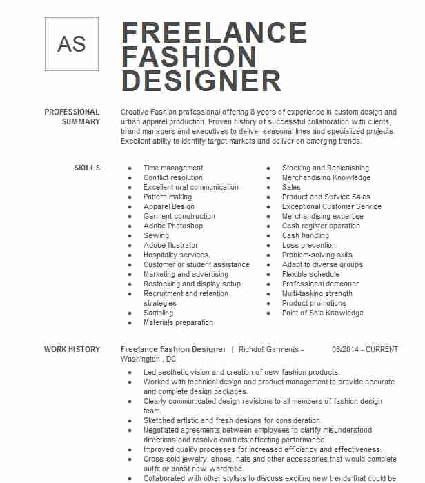 freelance fashion designer resume example palo alto beginner tips capital one for msc Resume Beginner Fashion Designer Resume