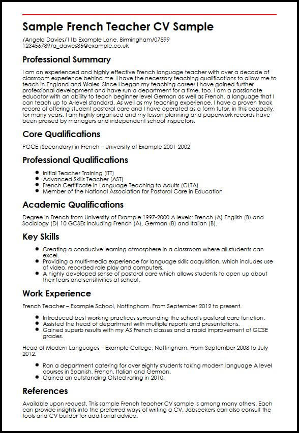 french teacher cv example myperfectcv including languages on resume sample swot Resume Including Languages On Resume