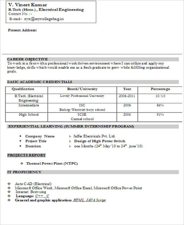 fresher resume templates pdf free premium general format for freshers electrical engineer Resume General Resume Format For Freshers