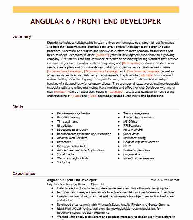 front end angular developer resume example nationwide insurance halethorpe experience Resume Angular Experience Resume