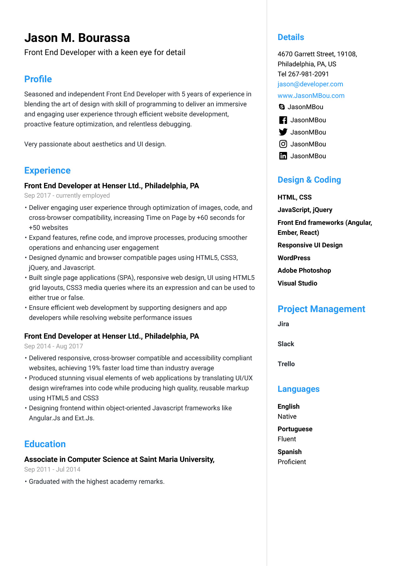 front end developer resume for example guide jofibo angular template operation engineer Resume Angular Resume Template
