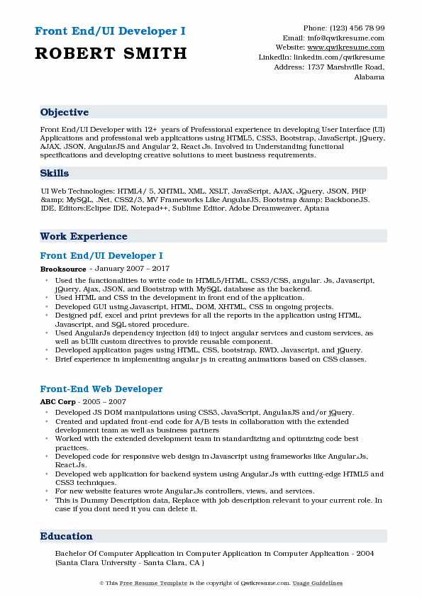 front end ui developer resume samples qwikresume angular experience pdf skills based Resume Angular Experience Resume