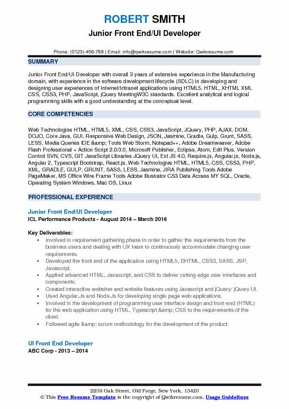 front end ui developer resume samples qwikresume angular template pdf operation engineer Resume Angular Resume Template