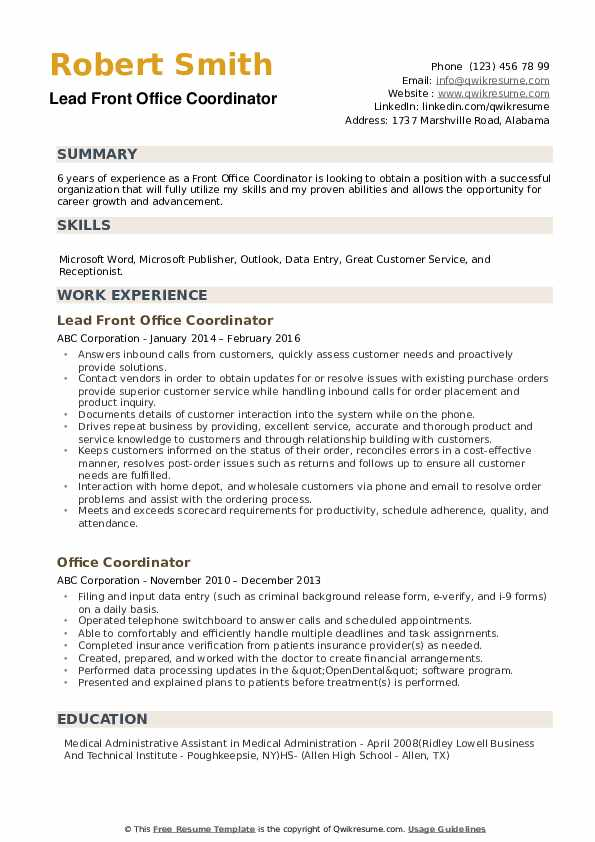 front office coordinator resume samples qwikresume another word for on pdf free Resume Another Word For Coordinator On Resume