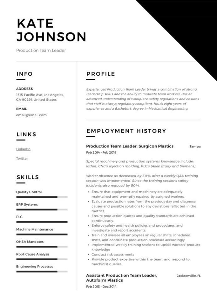 full guide production team leader resume samples pdf leadership qualities for 724x1024 Resume Leadership Qualities For Resume